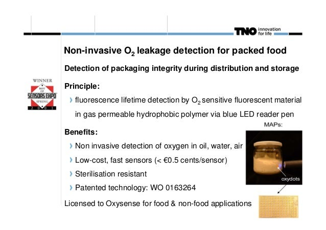 Non-invasive O2 leakage detection for packed food Detection of packaging integrity during distribution and storage Princip...