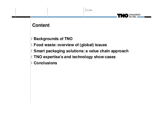 1 27-11-2013  Content Backgrounds of TNO Food waste: overview of (global) issues Smart packaging solutions: a value chain ...