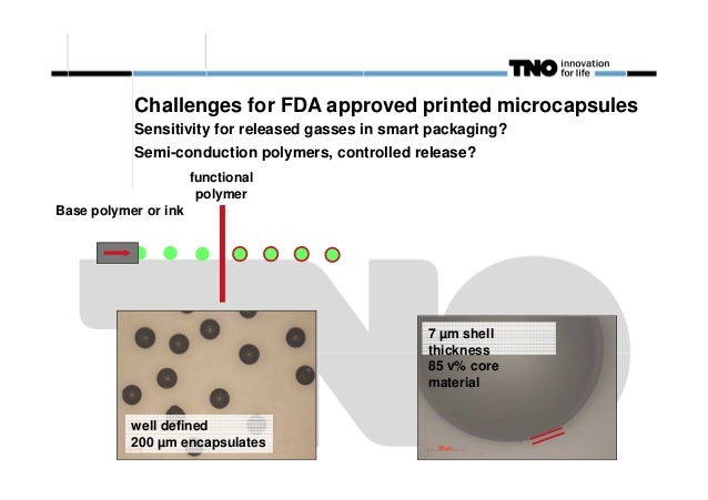 Challenges for FDA approved printed microcapsules Sensitivity for released gasses in smart packaging? Semi-conduction poly...
