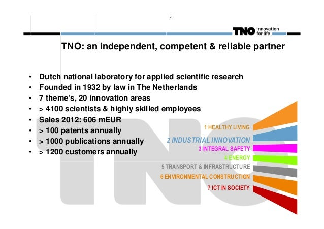 2  TNO: an independent, competent & reliable partner • • • • • • • •  Dutch national laboratory for applied scientific res...