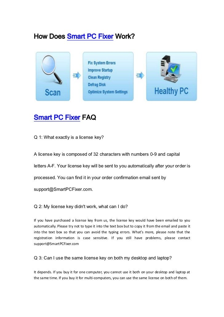 Smart pc fixer license Key generator