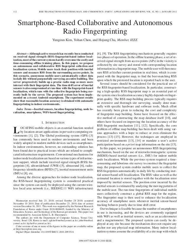 112 IEEE TRANSACTIONS ON SYSTEMS, MAN, AND CYBERNETICS—PART C: APPLICATIONS AND REVIEWS, VOL. 42, NO. 1, JANUARY 2012 Smar...