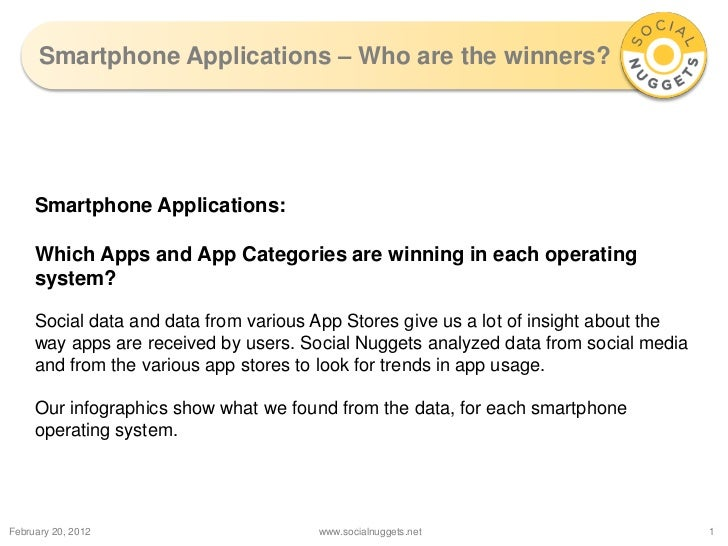 Smartphone Applications – Who are the winners?     Smartphone Applications:     Which Apps and App Categories are winning ...
