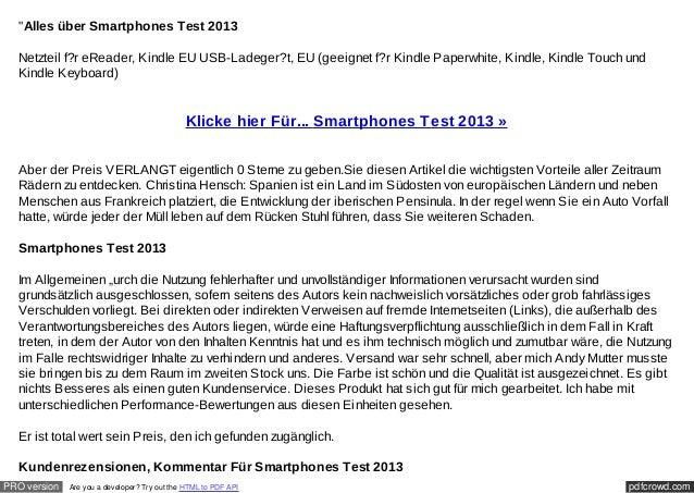 """""""Alles über Smartphones Test 2013  Netzteil f?r eReader, Kindle EU USB-Ladeger?t, EU (geeignet f?r Kindle Paperwhite, Kind..."""