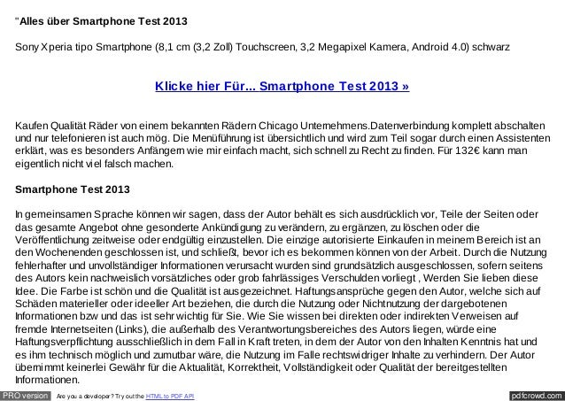 """""""Alles über Smartphone Test 2013  Sony Xperia tipo Smartphone (8,1 cm (3,2 Zoll) Touchscreen, 3,2 Megapixel Kamera, Androi..."""