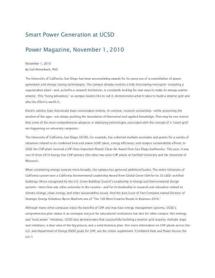 Smart Power Generation at UCSDPower Magazine, November 1, 2010November 1, 2010By Gail Reitenbach, PhDThe University of Cal...