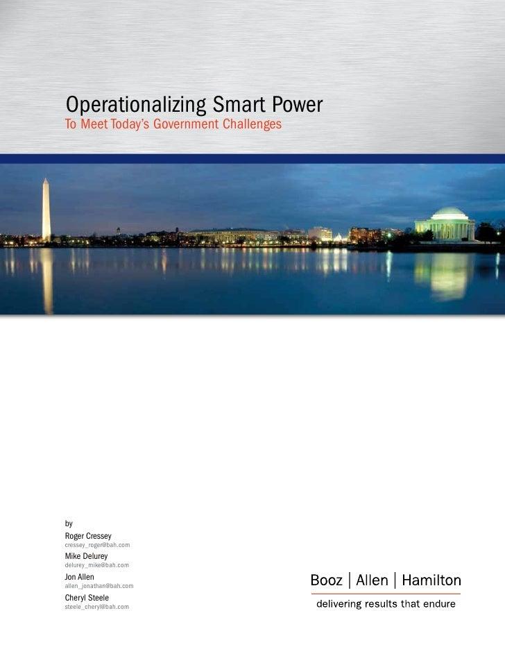 Operationalizing Smart PowerTo Meet Today's Government ChallengesbyRoger Cresseycressey_roger@bah.comMike Delureydelurey_m...