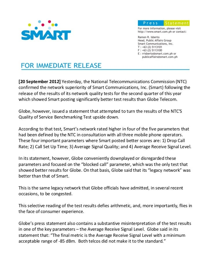 [20 September 2012] Yesterday, the National Telecommunications Commission (NTC)confirmed the network superiority of Smart ...