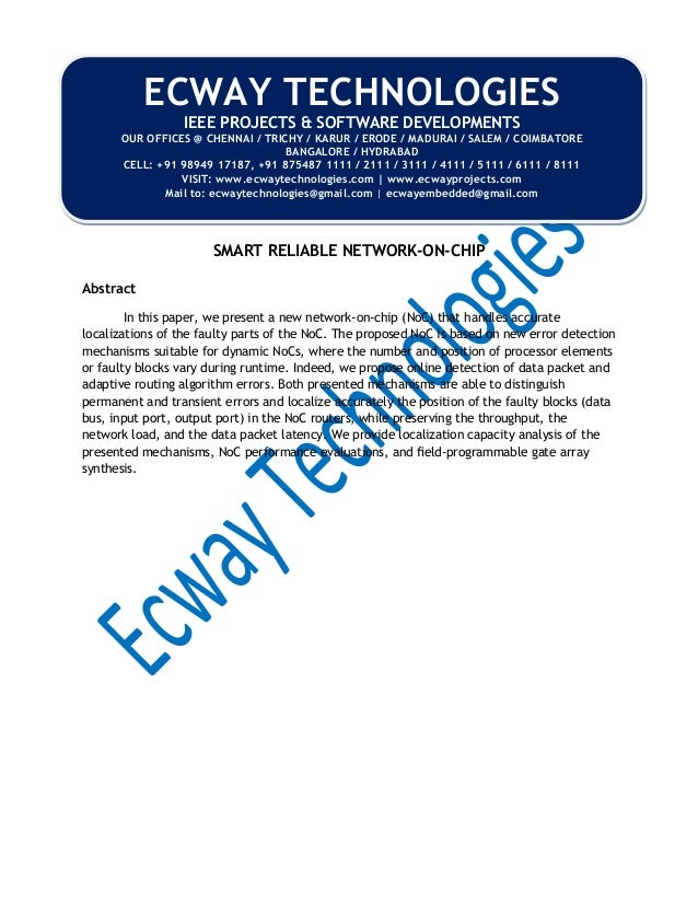 SMART RELIABLE NETWORK-ON-CHIP PDF DOWNLOAD
