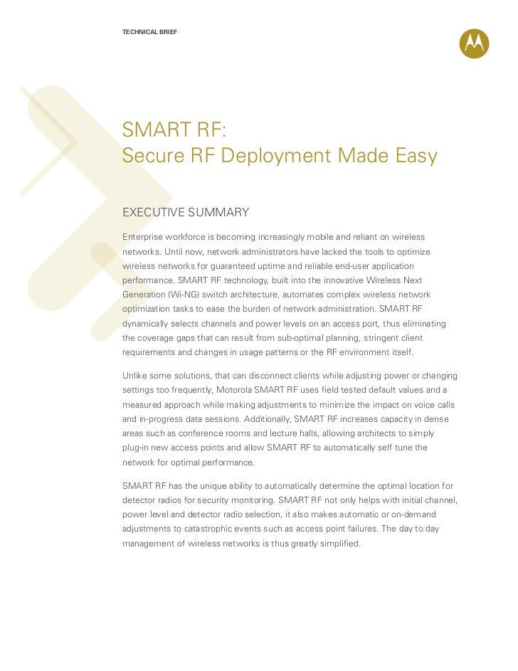 TECHNICAL BRIEFSMART RF:Secure RF Deployment Made EasyExecutive summaryEnterprise workforce is becoming increasingly mobil...