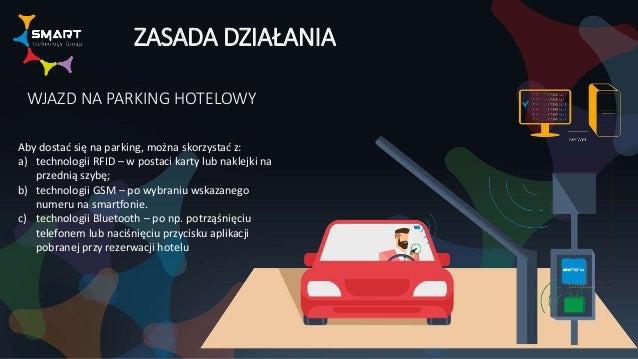 ZASADA DZIAŁANIA WJAZD NA PARKING HOTELOWY Aby dostać się na parking, można skorzystać z: a) technologii RFID – w postaci ...