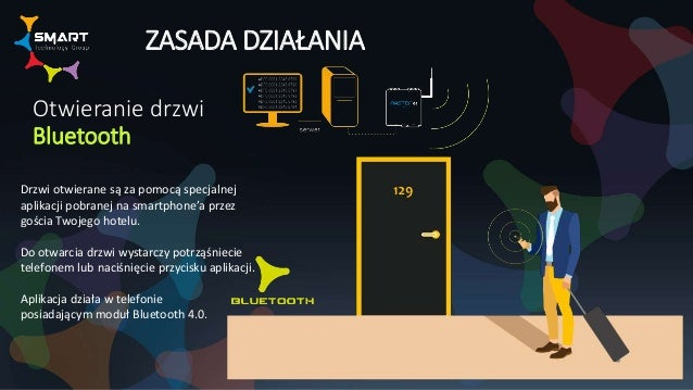 ZASADA DZIAŁANIA Otwieranie drzwi Bluetooth Drzwi otwierane są za pomocą specjalnej aplikacji pobranej na smartphone'a prz...