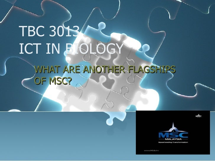 TBC 3013 ICT IN BIOLOGY WHAT ARE ANOTHER FLAGSHIPS OF MSC?