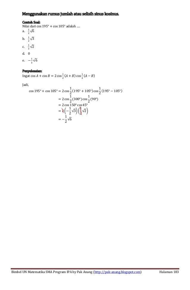 Smart Solution Un Matematika Sma 2013 Skl 4 3 Jumlah Selisih Sinus K