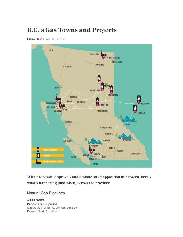 B.C.'s Gas Towns and Projects Liane Salo | J A N 6 , 2 0 1 4  	     With proposals, approvals and a whole lot of oppositio...