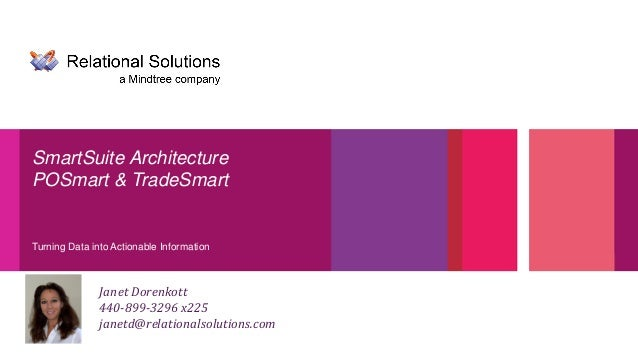 Turning Data into Actionable Information SmartSuite Architecture POSmart & TradeSmart Janet Dorenkott 440-899-3296 x225 ja...