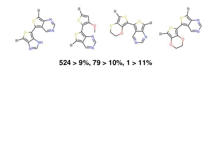 524 > 9%, 79 > 10%, 1 > 11%• Filter predictions using slower calculations• Eliminate polymers with poor charge mobility   ...
