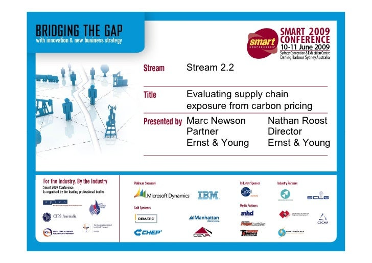 Stream 2.2  Evaluating supply chain exposure from carbon pricing Marc Newson       Nathan Roost Partner           Director...