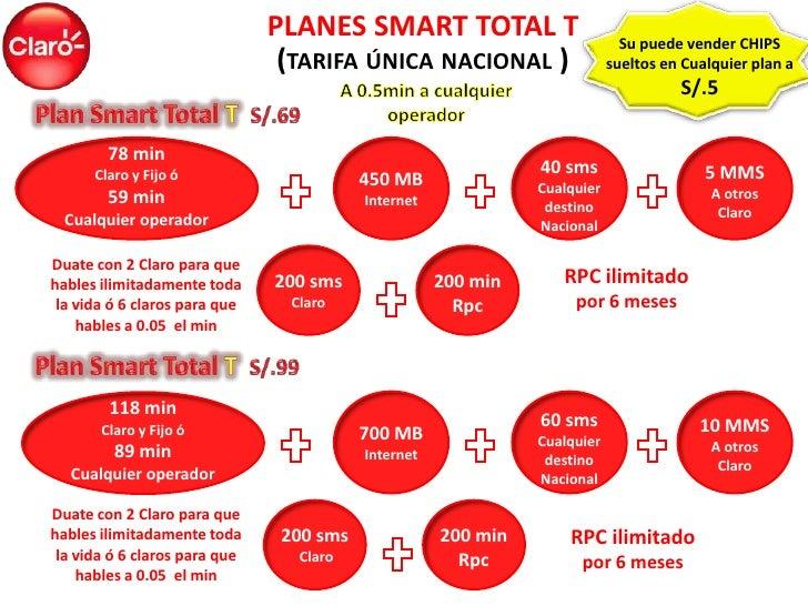 PLANES SMART TOTAL T                          Su puede vender CHIPS                                (TARIFA ÚNICA NACIONAL ...