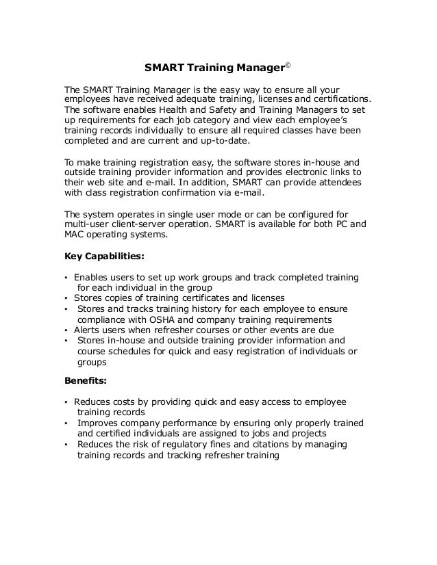 Smart Training Manager