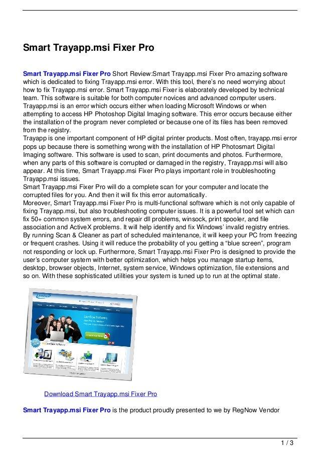 Smart Trayapp.msi Fixer ProSmart Trayapp.msi Fixer Pro Short Review:Smart Trayapp.msi Fixer Pro amazing softwarewhich is d...