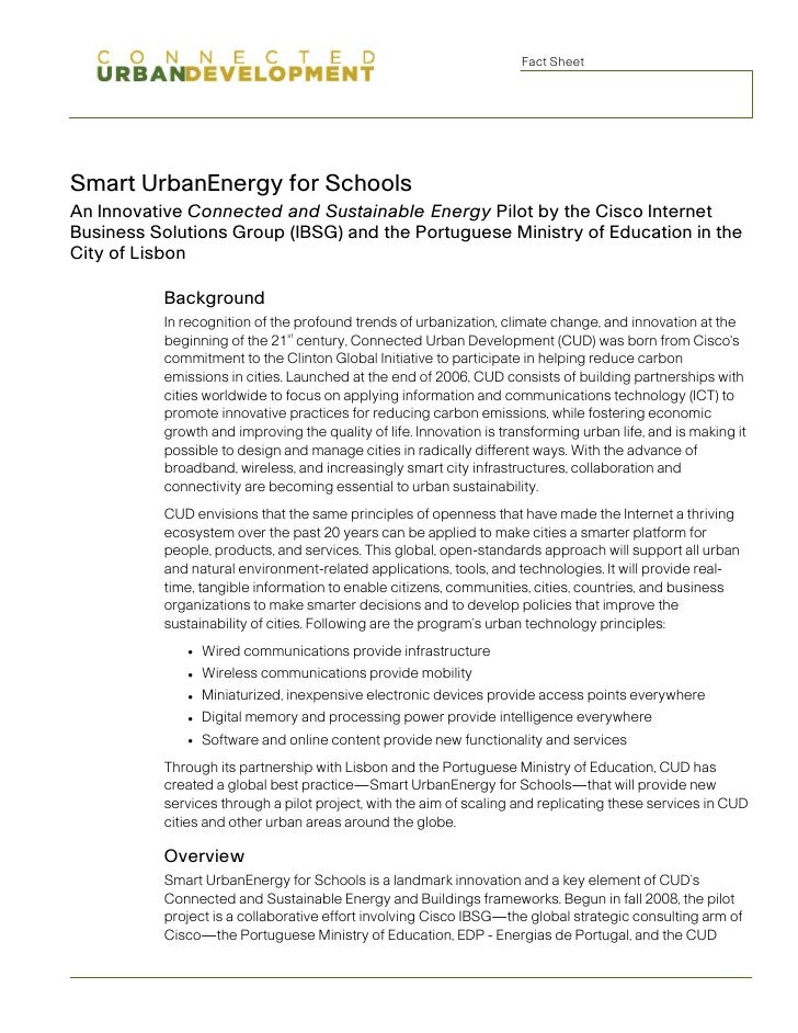 Fact Sheet     Smart UrbanEnergy for Schools An Innovative Connected and Sustainable Energy Pilot by the Cisco Internet Bu...