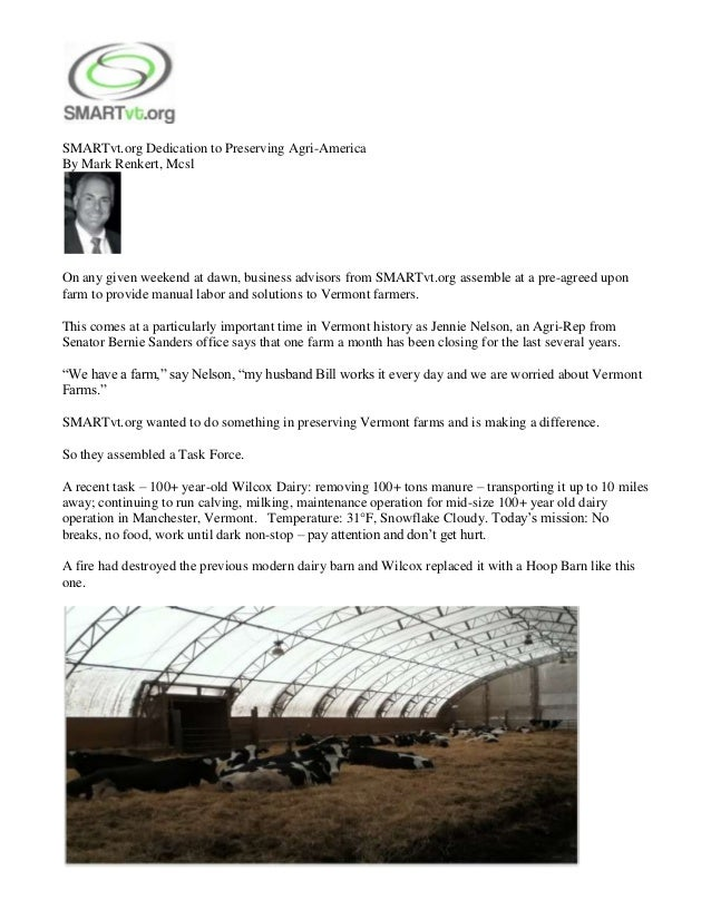 SMARTvt.org Dedication to Preserving Agri-AmericaBy Mark Renkert, McslOn any given weekend at dawn, business advisors from...