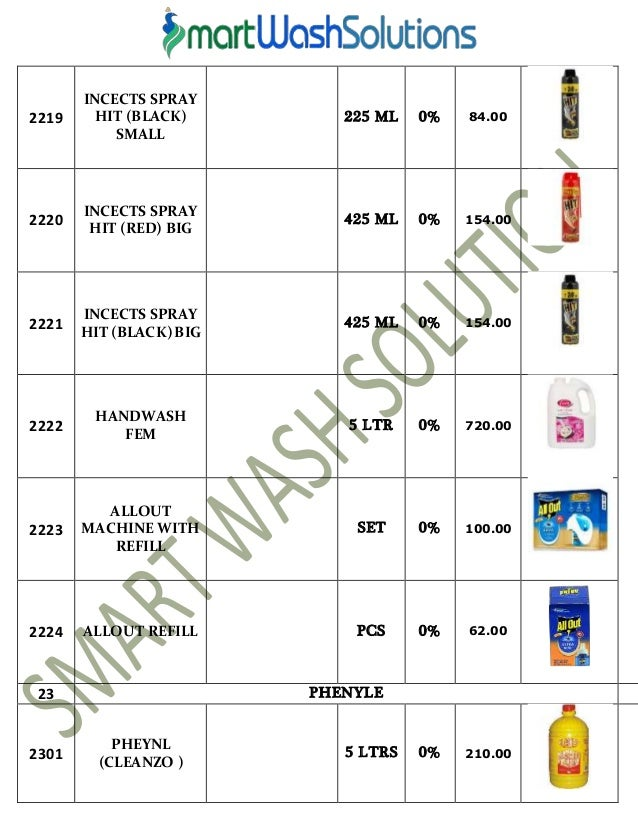 10. Housekeeping Products   Material and Cleaning Chemicals Price List