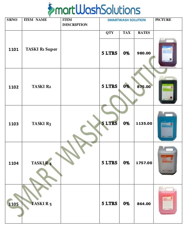 2  SRNO ITEM. Housekeeping Products   Material and Cleaning Chemicals Price List