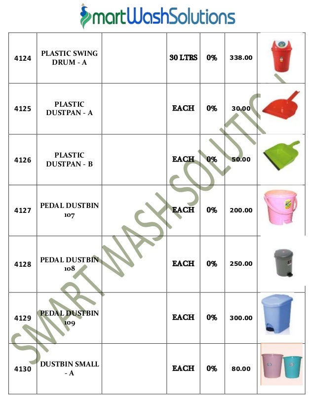 Housekeeping Products Material and Cleaning Chemicals Price List – Material List