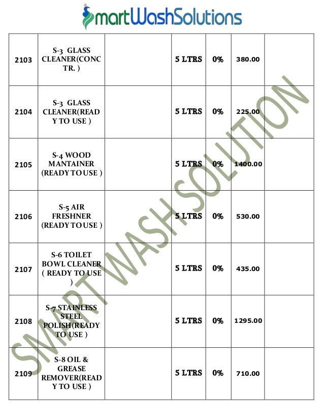 housekeeping products material and cleaning chemicals price list