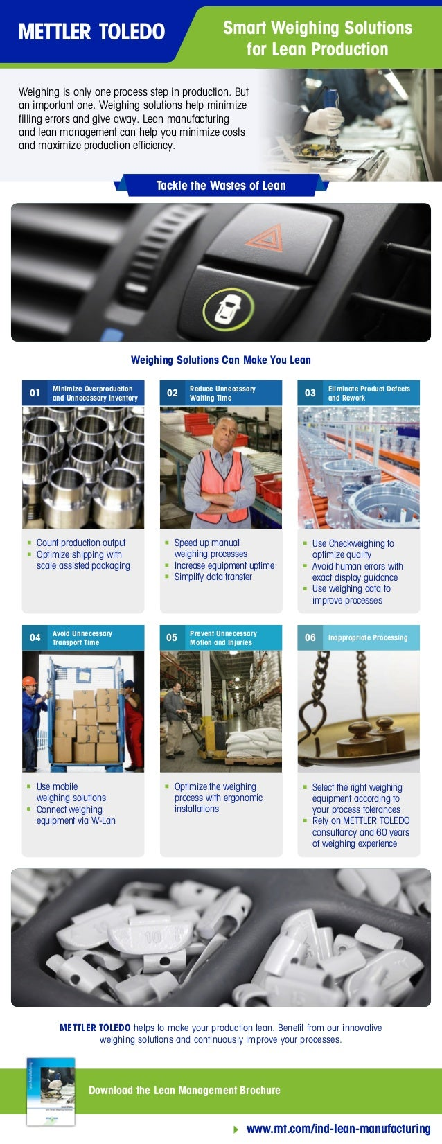 Smart Weighing Solutions for Lean Production Tackle the Wastes of Lean Download the Lean Management Brochure www.mt.com/in...