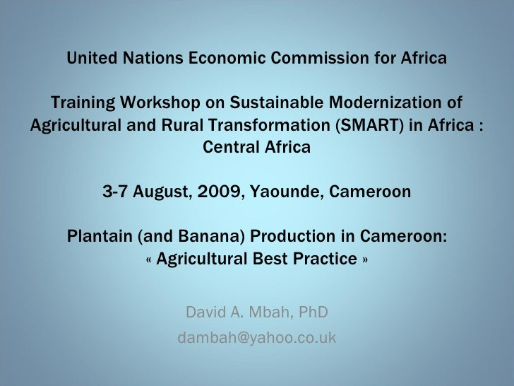 United Nations Economic Commission for Africa Training Workshop on Sustainable Modernization of Agricultural and Rural Tra...
