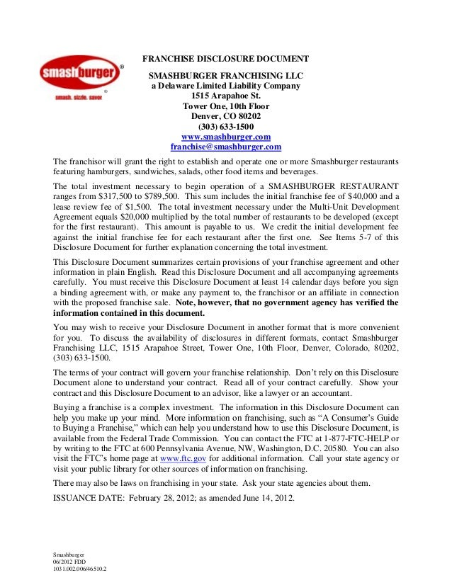 Franchise Disclosure Document For Smashburger Franchising LLC