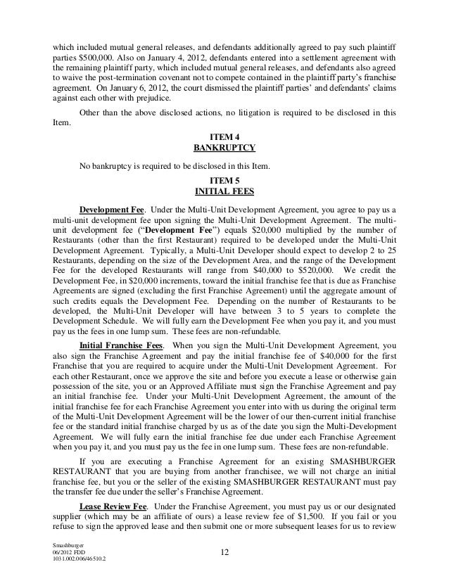 Franchise Disclosure Document for Smashburger Franchising LLC – Sample Franchise Agreements