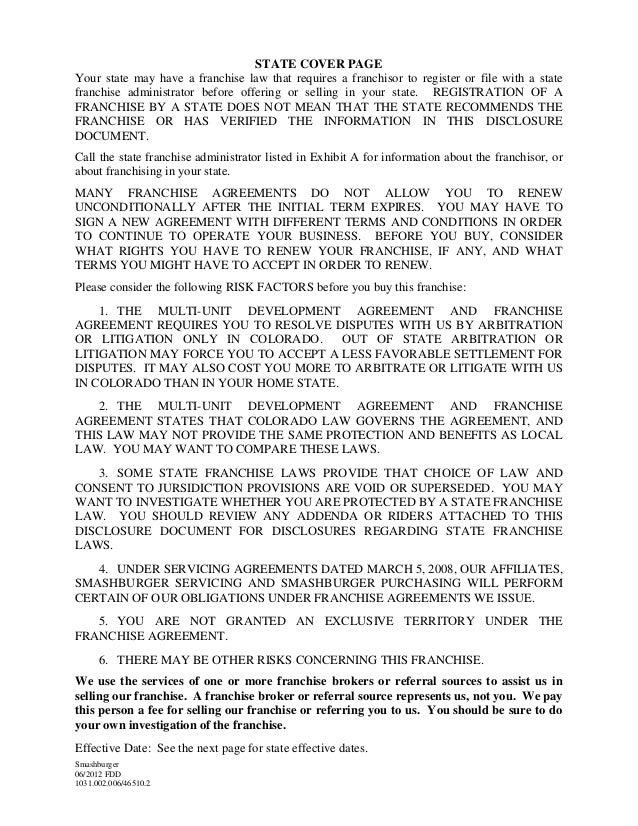 Franchise Disclosure Document For Smashburger Franchising Llc