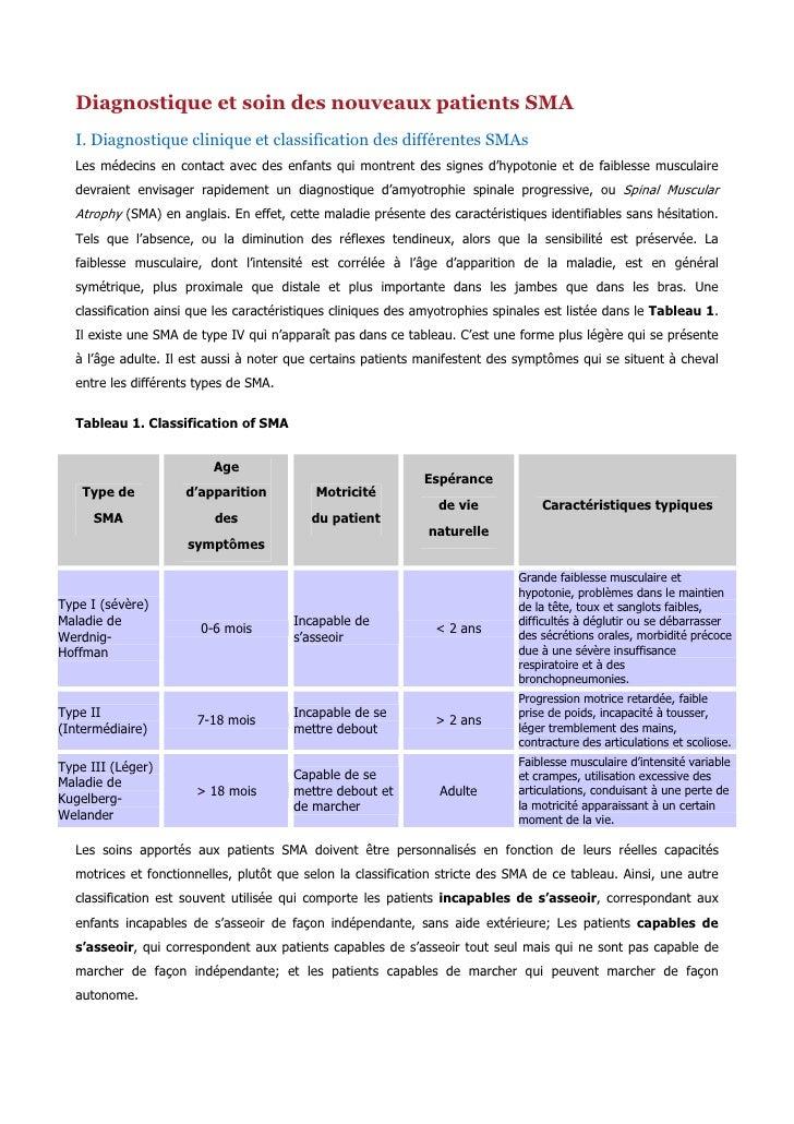 Diagnostique et soin des nouveaux patients SMA  I. Diagnostique clinique et classification des différentes SMAs  Les médec...