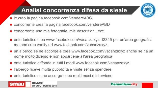 Analisi concorrenza difesa da sleale  io creo la pagina facebook.com/vendereABC  concorrente crea la pagina facebook.com...