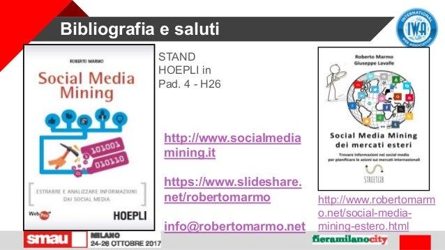 Bibliografia e saluti STAND HOEPLI in Pad. 4 - H26 http://www.socialmedia mining.it https://www.slideshare. net/robertomar...