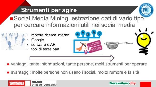 Strumenti per agire Social Media Mining, estrazione dati di vario tipo per cercare informazioni utili nei social media • ...