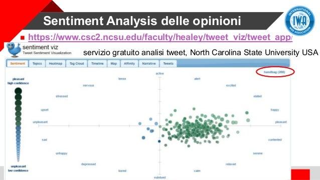 Sentiment Analysis delle opinioni  https://www.csc2.ncsu.edu/faculty/healey/tweet_viz/tweet_app/ servizio gratuito analis...