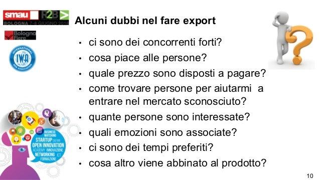 Alcuni dubbi nel fare export • ci sono dei concorrenti forti? • cosa piace alle persone? • quale prezzo sono disposti a pa...