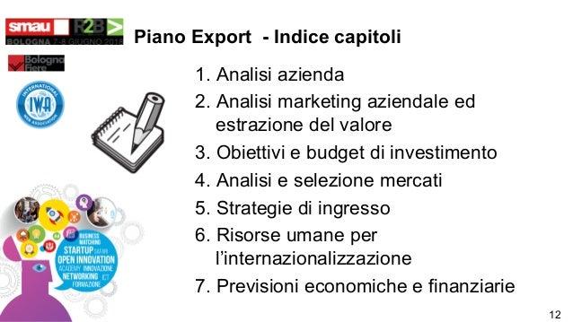 Piano Export - Indice capitoli 1. Analisi azienda 2. Analisi marketing aziendale ed estrazione del valore 3. Obiettivi e b...