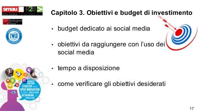 • budget dedicato ai social media • obiettivi da raggiungere con l'uso dei social media • tempo a disposizione • come veri...