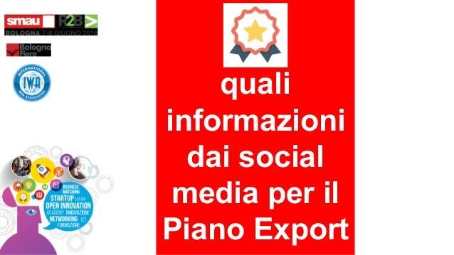 quali informazioni dai social media per il Piano Export