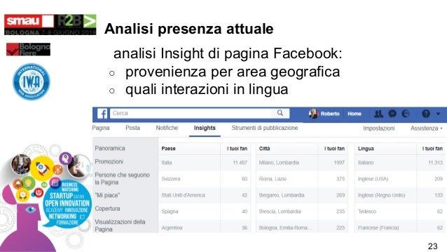 Analisi presenza attuale analisi Insight di pagina Facebook: ○ provenienza per area geografica ○ quali interazioni in ling...