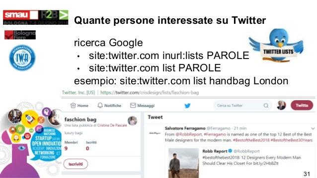 Quante persone interessate su Twitter ricerca Google • site:twitter.com inurl:lists PAROLE • site:twitter.com list PAROLE ...