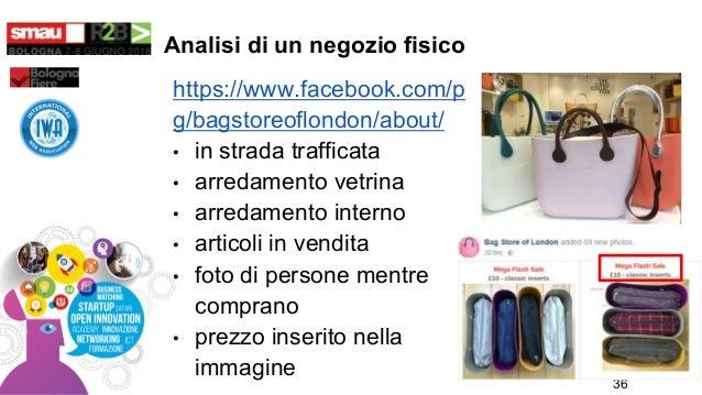 Analisi di un negozio fisico https://www.facebook.com/p g/bagstoreoflondon/about/ • in strada trafficata • arredamento vet...