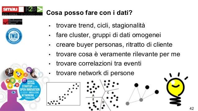 Cosa posso fare con i dati? • trovare trend, cicli, stagionalità • fare cluster, gruppi di dati omogenei • creare buyer pe...