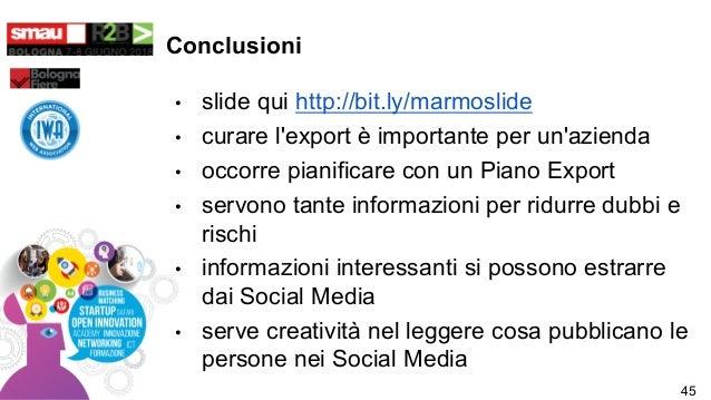 Conclusioni • slide qui http://bit.ly/marmoslide • curare l'export è importante per un'azienda • occorre pianificare con u...